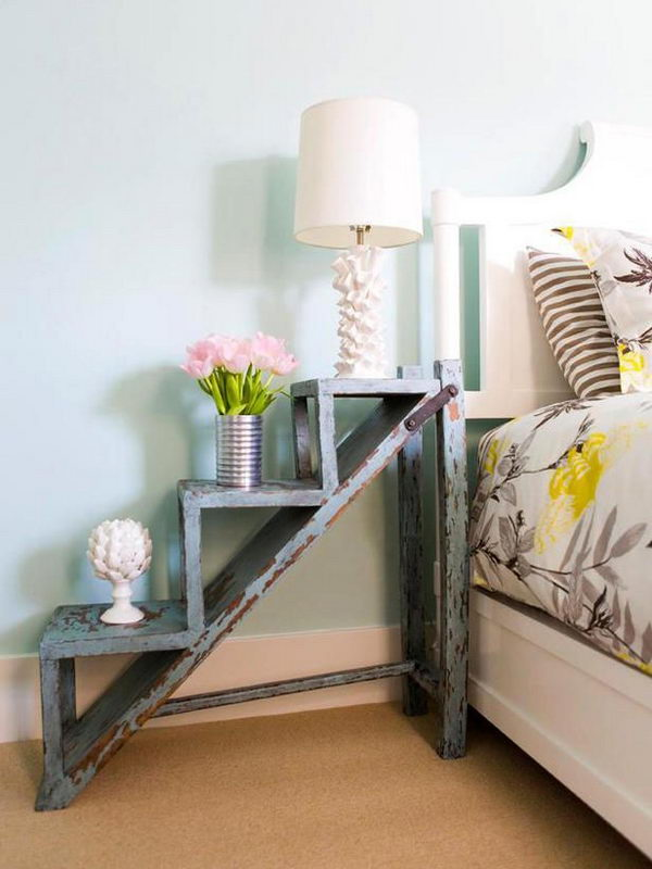 Vintage Nightstands Ideas : ... cool idea to convert a garden ladder to a vintage style nightstand