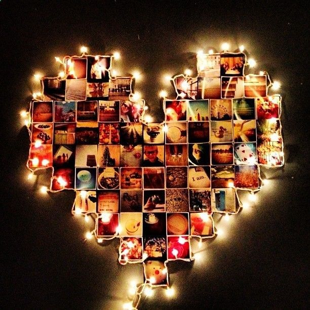 The Heart Shape Photo Scrapbook With Lights Around Is A Cool Idea For Boyfriend