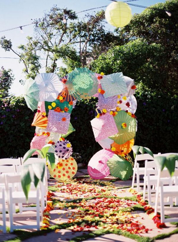 Colorful Umbrella Wedding Arch,