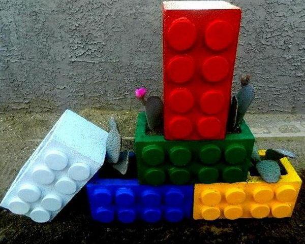 DIY Cinderblock Lego Planter.