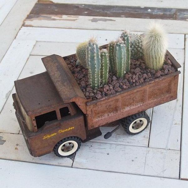 Planted Vintage Dump Truck.