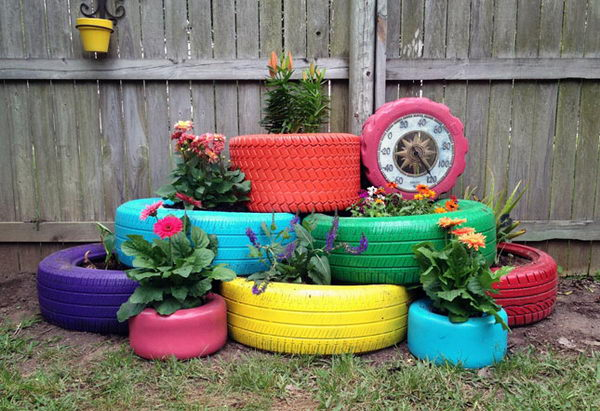 DIY Painted Tire Planters.
