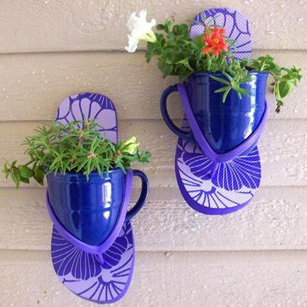 Wall Planter with Cups and Shoes.