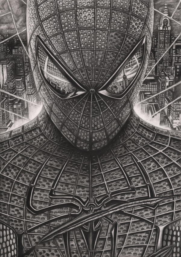 20 cool spiderman drawings hative for Cool detailed drawings