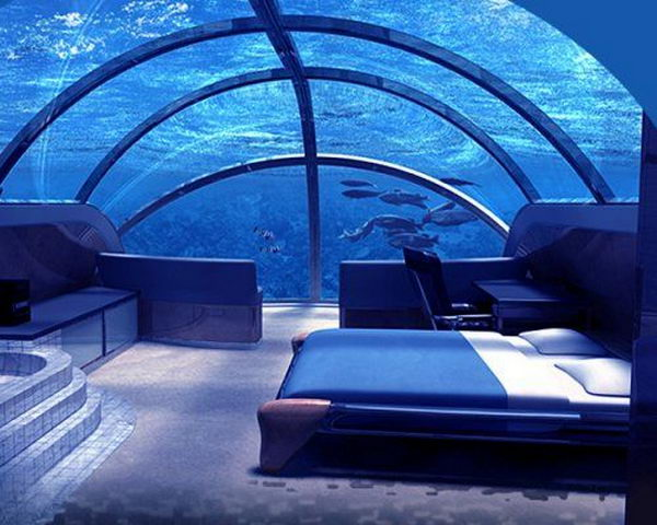 Poseidon Undersea Resort in Fiji. The Poseidon Resorts (Fiji) is certainly one of the most unusual and cool places to sleep. This 5 star hotel is located adjacent to a private Fiji island, at 12 meters deep and it's the first permanent underwater complex in the world.