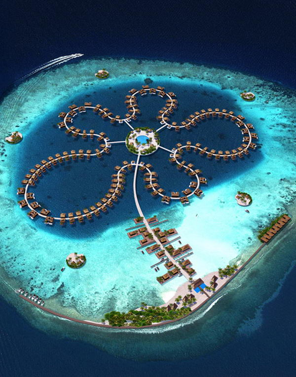 The Ocean Flower. This hotel located in the most upmarket part of the Maldives, the North Male atoll, only 20 minutes by boat from the capitol of Male and the international airport. It offers an array of amenities such as a pristine beach, restaurants, shops, a diving centre, a spa, swimming pools and small private islands where you can relax or enjoy a picnic in the gentle ocean breeze.