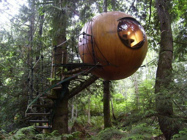 Free Spirit Spheres   Qualicum Beach, BC. These treehouse spheres are set amongst the lush Pacific Northwest rainforest. It is open all year long, and is especially cozy in snowy winters.