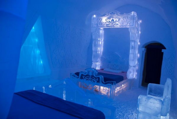 Hotel de Glace Quebec Canada. Frozen Suite at Hotel de Glace Brings Arendelle's Eternal Winter to Life. It looks like a place out of a fairy tale.