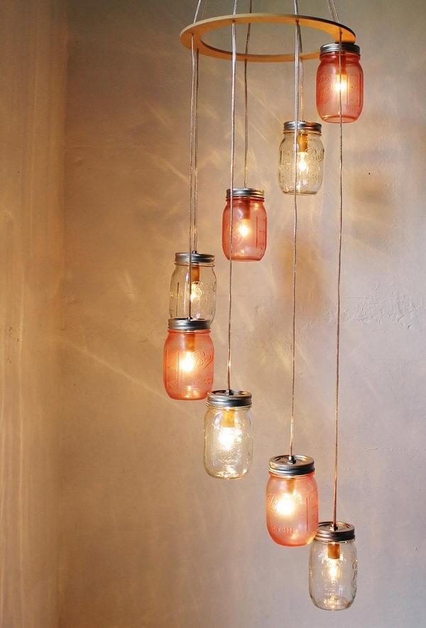 20 Cool DIY Chandelier Ideas for Inspiration Hative : 4 mason jar chandelier from hative.com size 600 x 885 jpeg 56kB