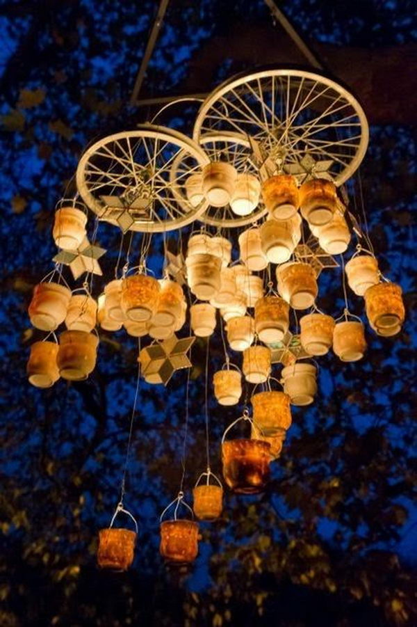 20 cool diy chandelier ideas for inspiration hative bottle chandelier its cool to use wire candles jars and bicycle spokes to aloadofball Images