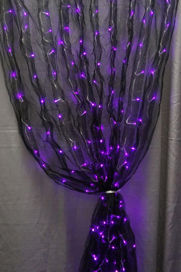 LED Light Curtain. Black Fabric Sash And Purple LED Lights Together Makes  For One Really