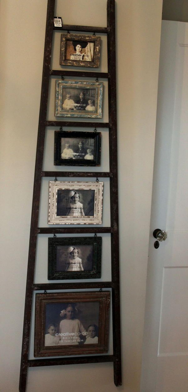 Old Ladder Photo Display Turn An Into A Creative With Hanging
