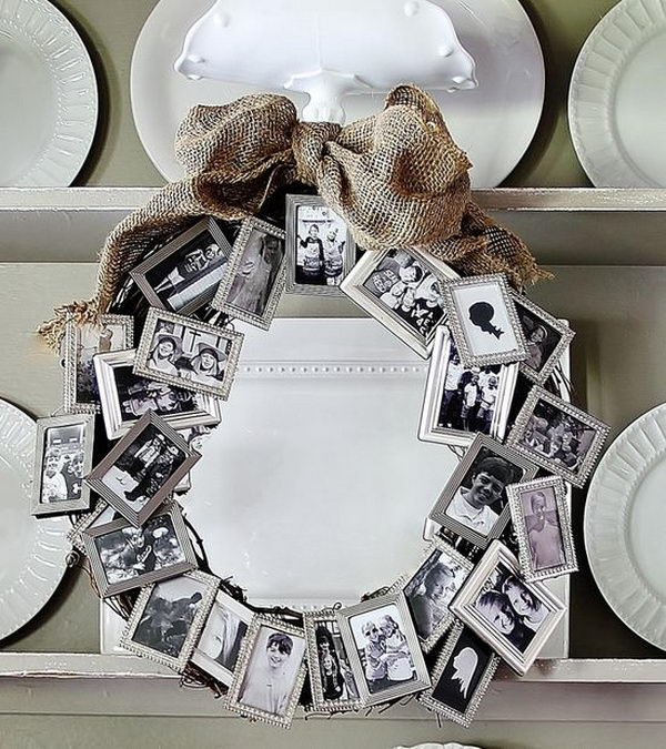 Photo Frame Wreath. create a decorative wreath with a bunch of dollar store small frames.