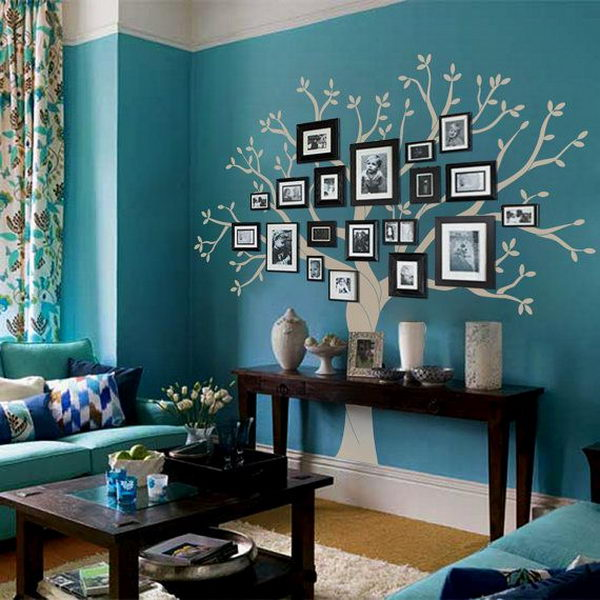 20 creative photo frame display ideas hative for Family tree picture wall ideas