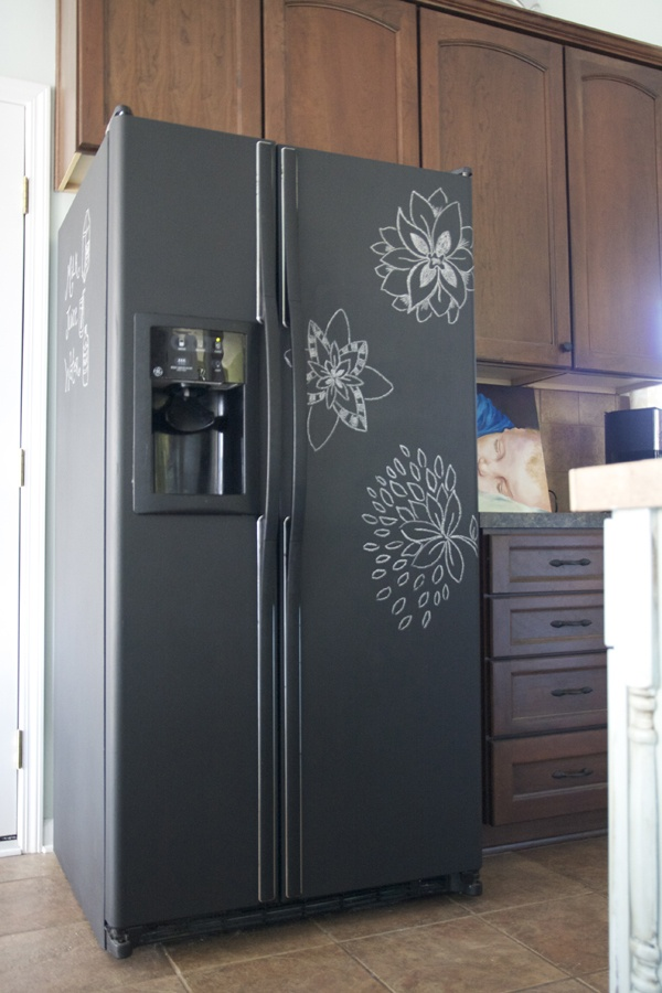 Chalkboard Painting on a Refrigerator.