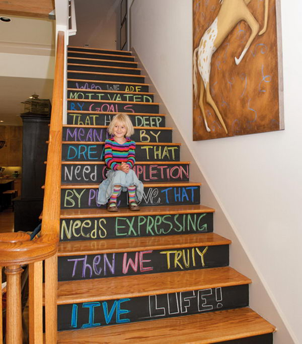 Creative Diy Tips For Decorating Your Stairs: 20+ Cool Chalkboard Paint Ideas