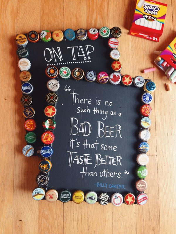 9 diy bottlecap picture frames with chalkboard paint