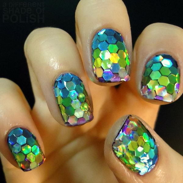 3D Glitter Fish Scale Manicure, 3D nail art is a technique for decorating nails that creates three dimensional designs.