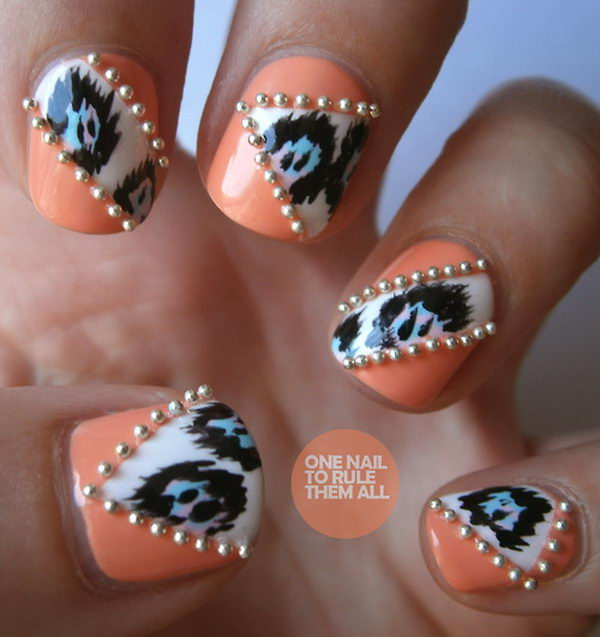 Ikat and Beads 3D Nail Art, 3D nail art is a technique for decorating nails that creates three dimensional designs.