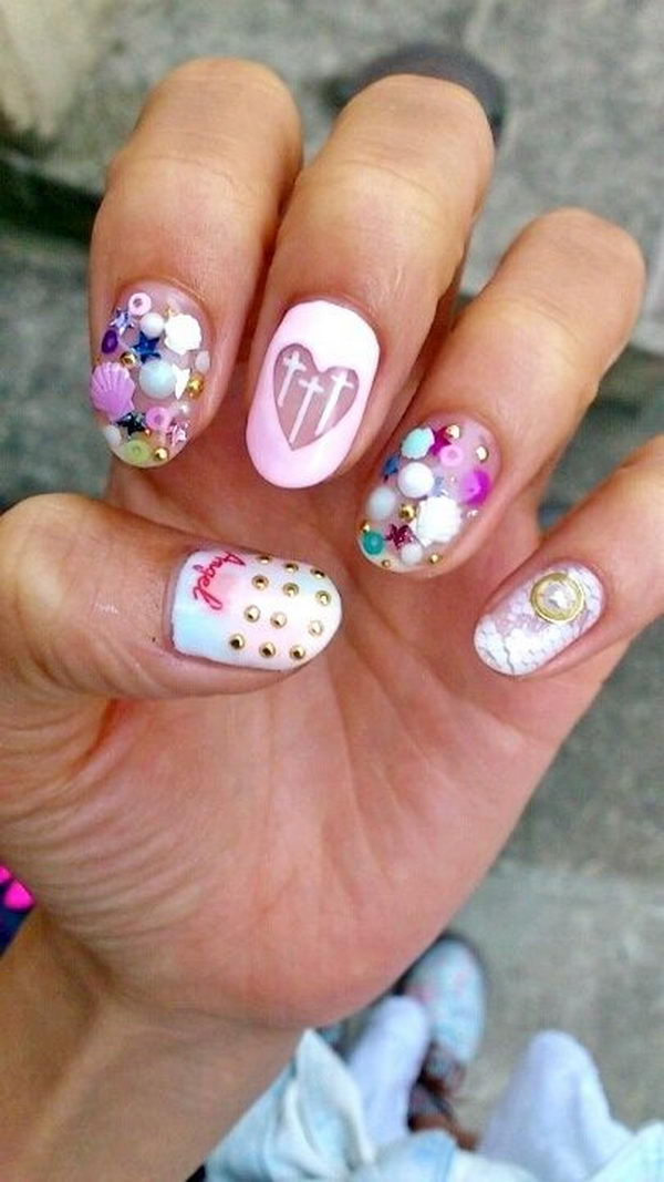 3D Transparent Pastel Nails, 3D nail art is a technique for decorating nails that creates three dimensional designs.