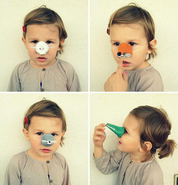 DIY Animal Noses. DIY Halloween Mask Crafts for Kids, which are embellished in rich colors and fine design. They are perfect props for Halloween pretend play which fosters imagination and creativity in children.