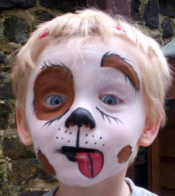 Puppy Dog Face Paint. Cool Face Painting Ideas For Kids, which transform the faces of little ones without requiring professional quality painting skills.