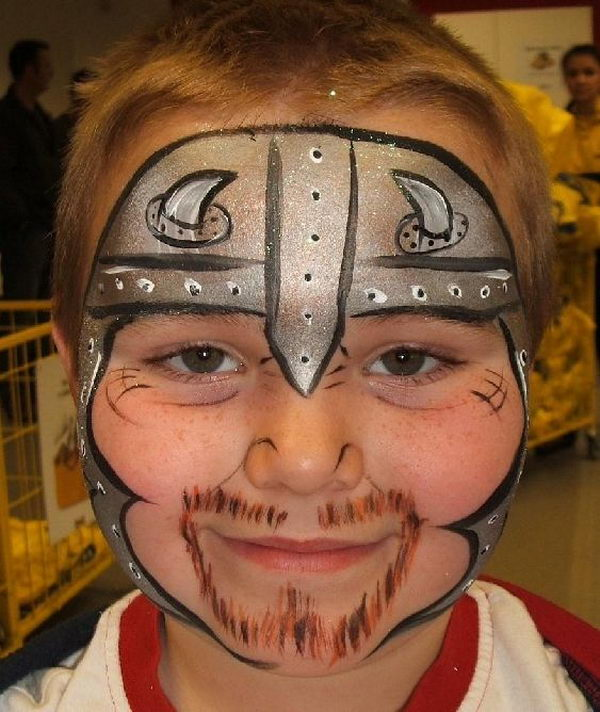 Knight Face Paint. Cool Face Painting Ideas For Kids, which transform the faces of little ones without requiring professional quality painting skills.