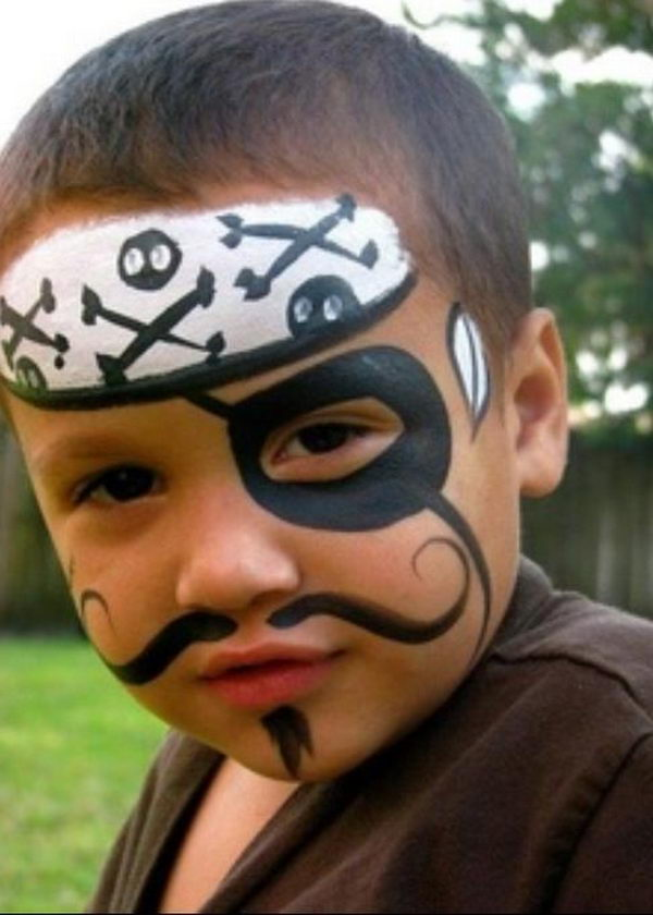 Pirate. Cool Face Painting Ideas For Kids, which transform the faces of little ones without requiring professional quality painting skills.