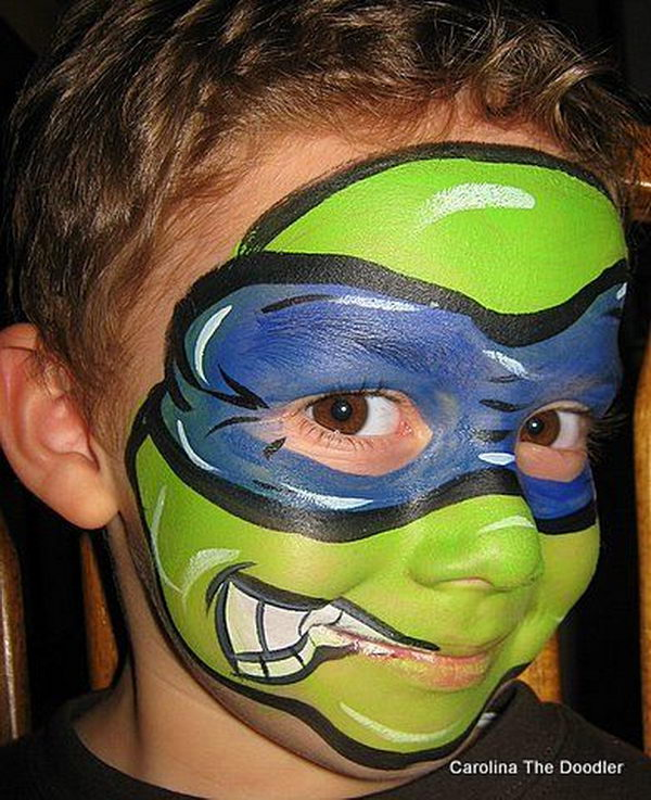 Turtle Hero. Cool Face Painting Ideas For Kids, which transform the faces of little ones without requiring professional quality painting skills.