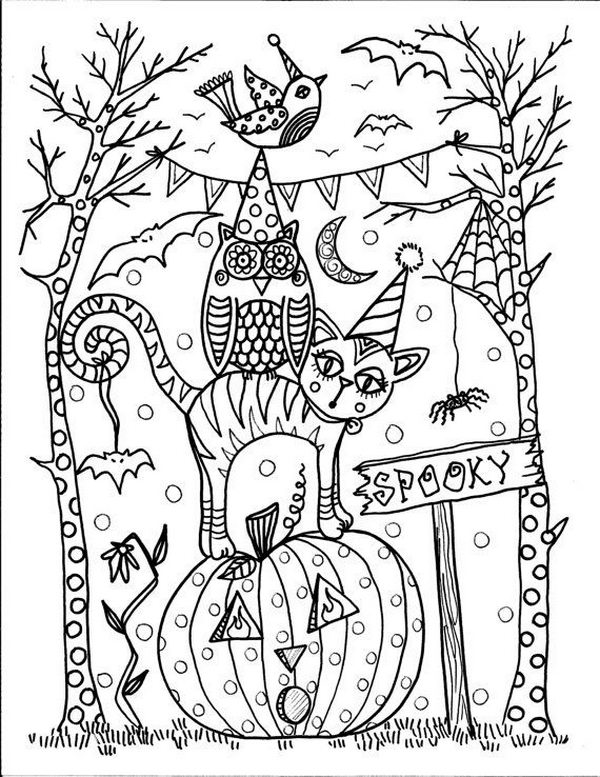 Fun Halloween Coloring Pages For Kids on number tree worksheets
