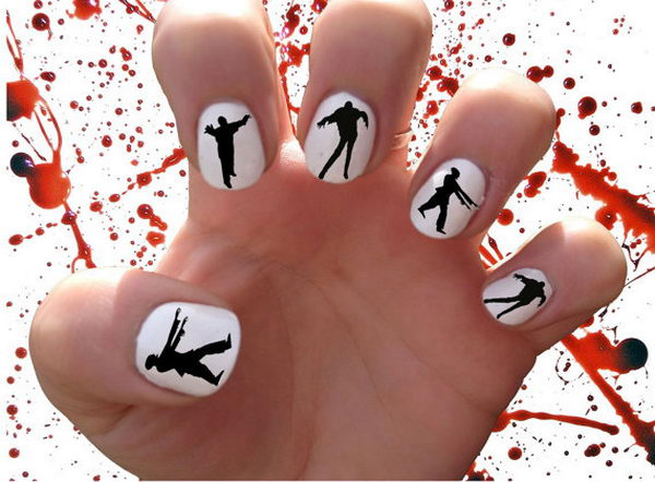 Zombie Walkers. Cool Halloween Nail Art which show off your spooky spirit during the freakish festivities.