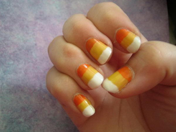 Candy Corn Nails. Cool Halloween Nail Art which show off your spooky spirit during the freakish festivities.