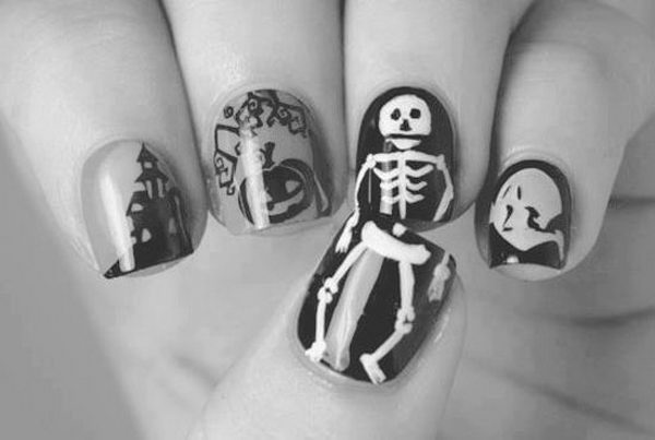 Skeleton Halloween Nail Art. Cool Halloween Nail Art which show off your spooky spirit during the freakish festivities.