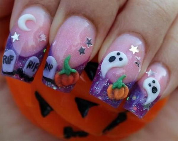 Halloween Ghost Nails. Cool Halloween Nail Art which show off your spooky spirit during the freakish festivities.