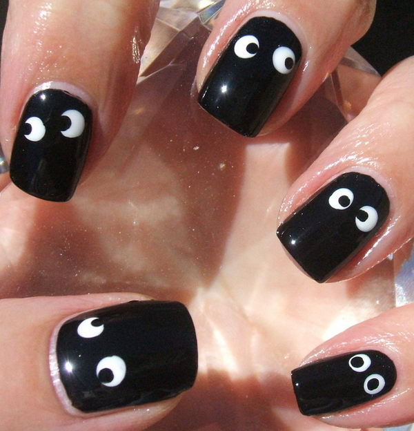 Googly Eye Nails. Cool Halloween Nail Art which show off your spooky spirit during the freakish festivities.