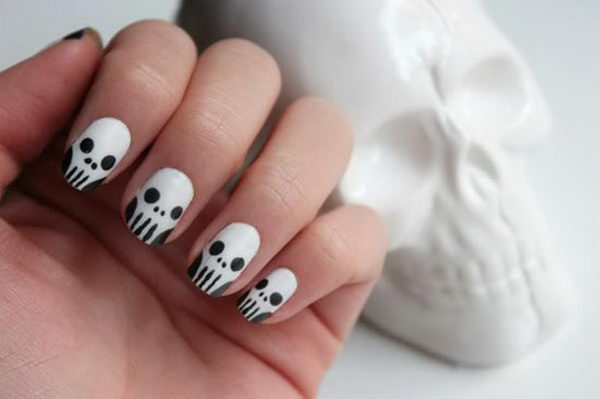 Skull Nails. Cool Halloween Nail Art which show off your spooky spirit during the freakish festivities.