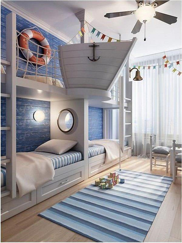 25 nautical bedding ideas for boys hative for Beach themed kids room