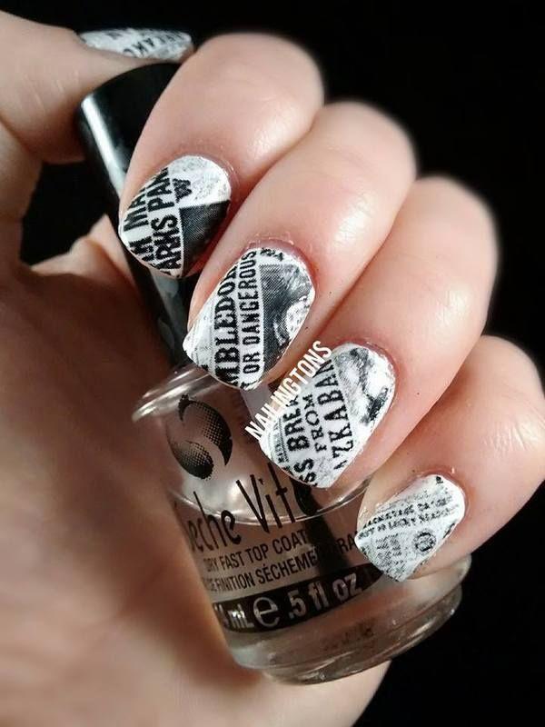 20 Cool Newspaper Nail Art Ideas Hative