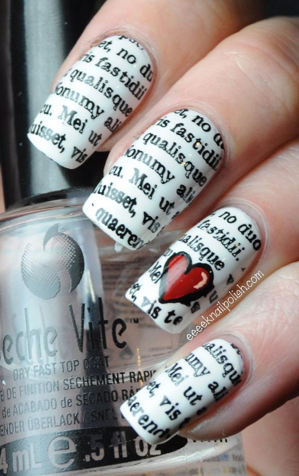 Newspaper Nail Idea & 20 Cool Newspaper Nail Art Ideas - Hative