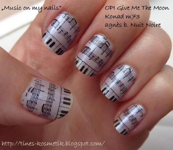 20 cool newspaper nail art ideas hative music note prinsesfo Image collections