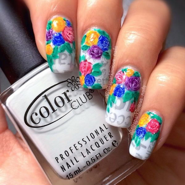 20 cool newspaper nail art ideas hative floral on newspaper nail art prinsesfo Image collections