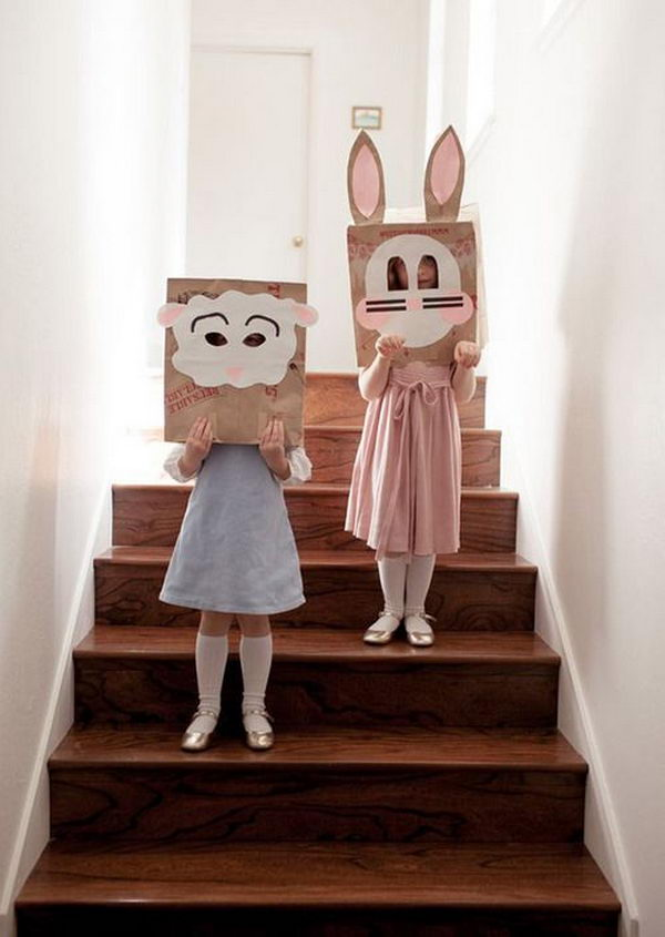 Brown Sack Masks. There is no easier costume than a paper bag mask. Grab a paper bag and cut out holes for your eyes then grab a few markers and let your imagination go wild. They are so simple for kids to make and to wear.