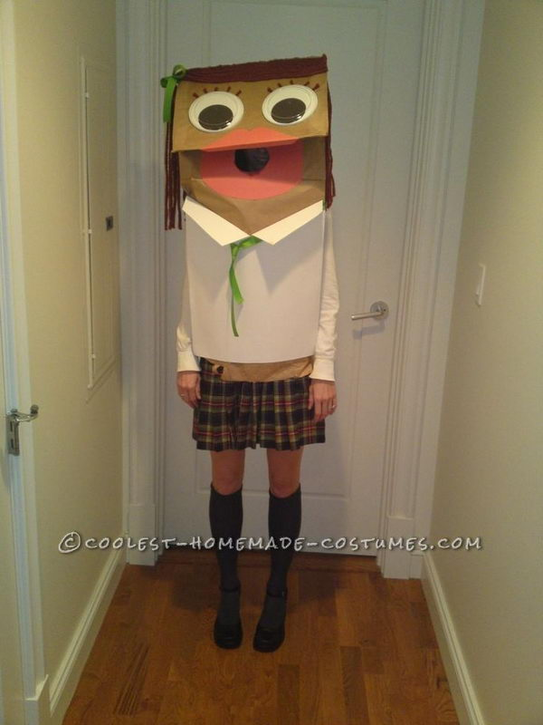 Paper Bag Puppet Costume. There is no easier costume than a paper bag mask. Grab a paper bag and cut out holes for your eyes then grab a few markers and let your imagination go wild. They are so simple for kids to make and to wear.