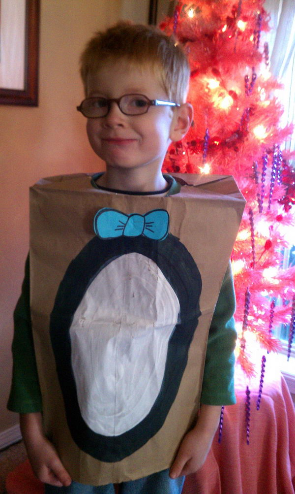 Penguin Costume. There is no easier costume than a paper bag mask. Grab a paper bag and cut out holes for your eyes then grab a few markers and let your imagination go wild. They are so simple for kids to make and to wear.