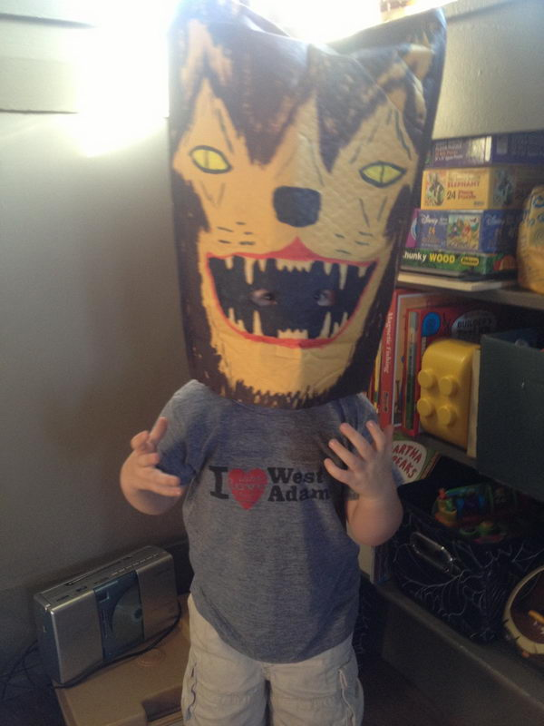 Paper Bag Masks. There is no easier costume than a paper bag mask. Grab a paper bag and cut out holes for your eyes then grab a few markers and let your imagination go wild. They are so simple for kids to make and to wear.