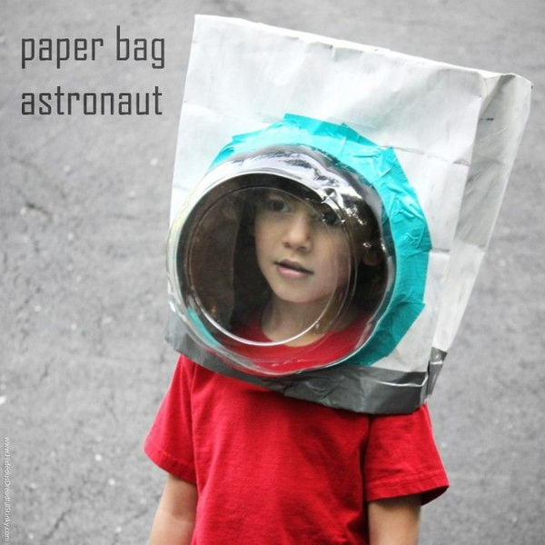 Paper Bag Astronaut Helmet Costume. There is no easier costume than a paper bag mask. Grab a paper bag and cut out holes for your eyes then grab a few markers and let your imagination go wild. They are so simple for kids to make and to wear.