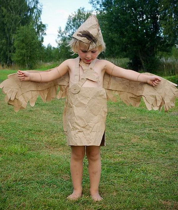 Paper Bag Bird. There is no easier costume than a paper bag mask. Grab a paper bag and cut out holes for your eyes then grab a few markers and let your imagination go wild. They are so simple for kids to make and to wear.