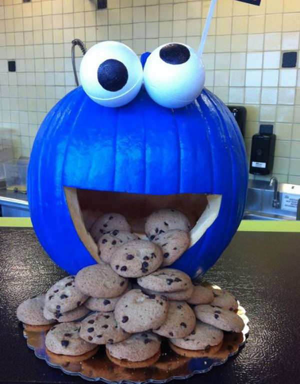 Cookie Monster Pumpkin.