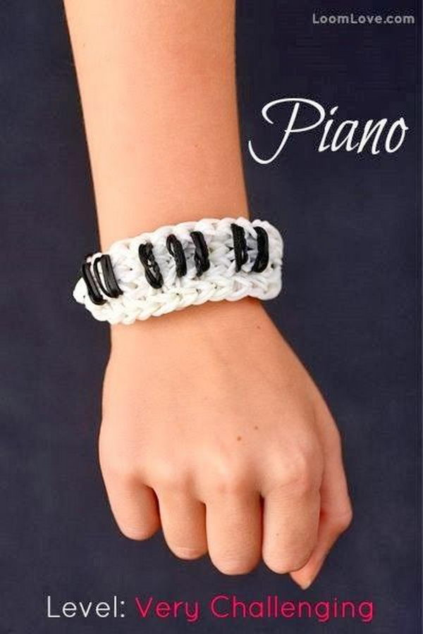Piano Rainbow Loom Bracelet. Rainbow Loom is one of the top gifts for kids, and every kid seems to have at least one piece of rubber band jewelry.