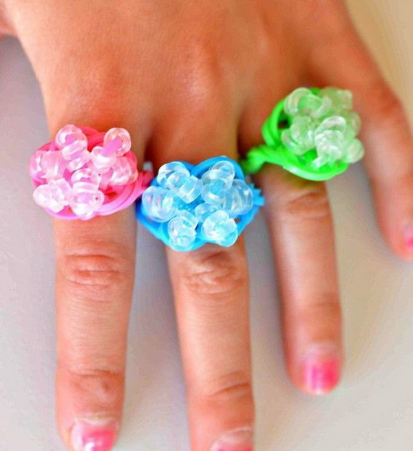 Rock Candy Ring. Rainbow Loom is a plastic loom used to weave colorful rubber bands into bracelets and charms. It is one of the top gifts for kids.